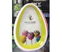 Фоторамка пластик цветной 6618 форма яйцо