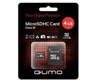 Карта памяти Micro SDHC QUMO 4GB Class10 с адаптером