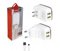 Cетевое зарядное A2204 LDNIO 2 USB 2.4 A с кабелем iPhone