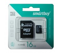 Карта памяти Micro SDHC 16Gb Smart Buy class10 с адаптером