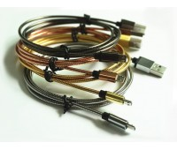 Кабель MicroUSB металлическая пружина 1м Quick Charge