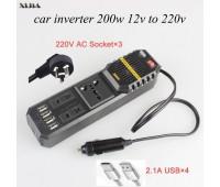 Автомобильный инвертер Z8981 DC12/AC220V 200W